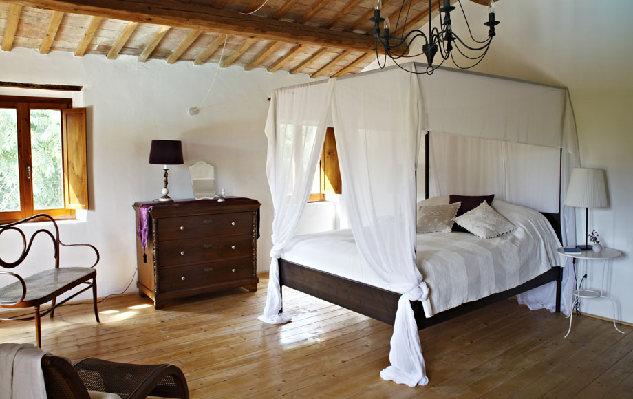 Bedroom 1 – the master bedroom with king sized double, twin wardrobes and overlooking the pool